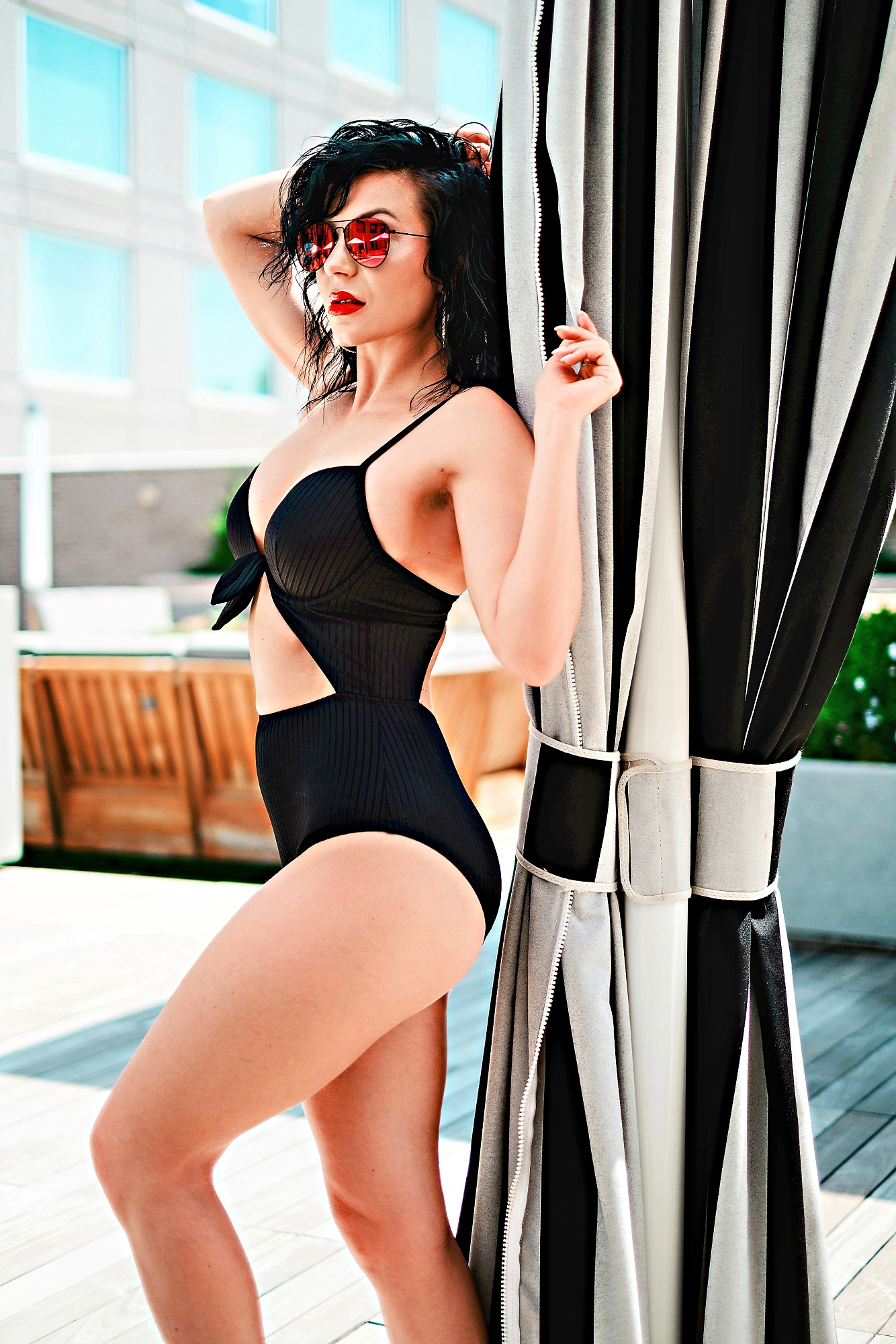 Swimsuit Styles by popular Atlanta fashion blog, Chelissima: image of a woman wearing a Target Women's Shore Light Lift Ribbed Tie-Front Cut Out One Piece Swimsuit.