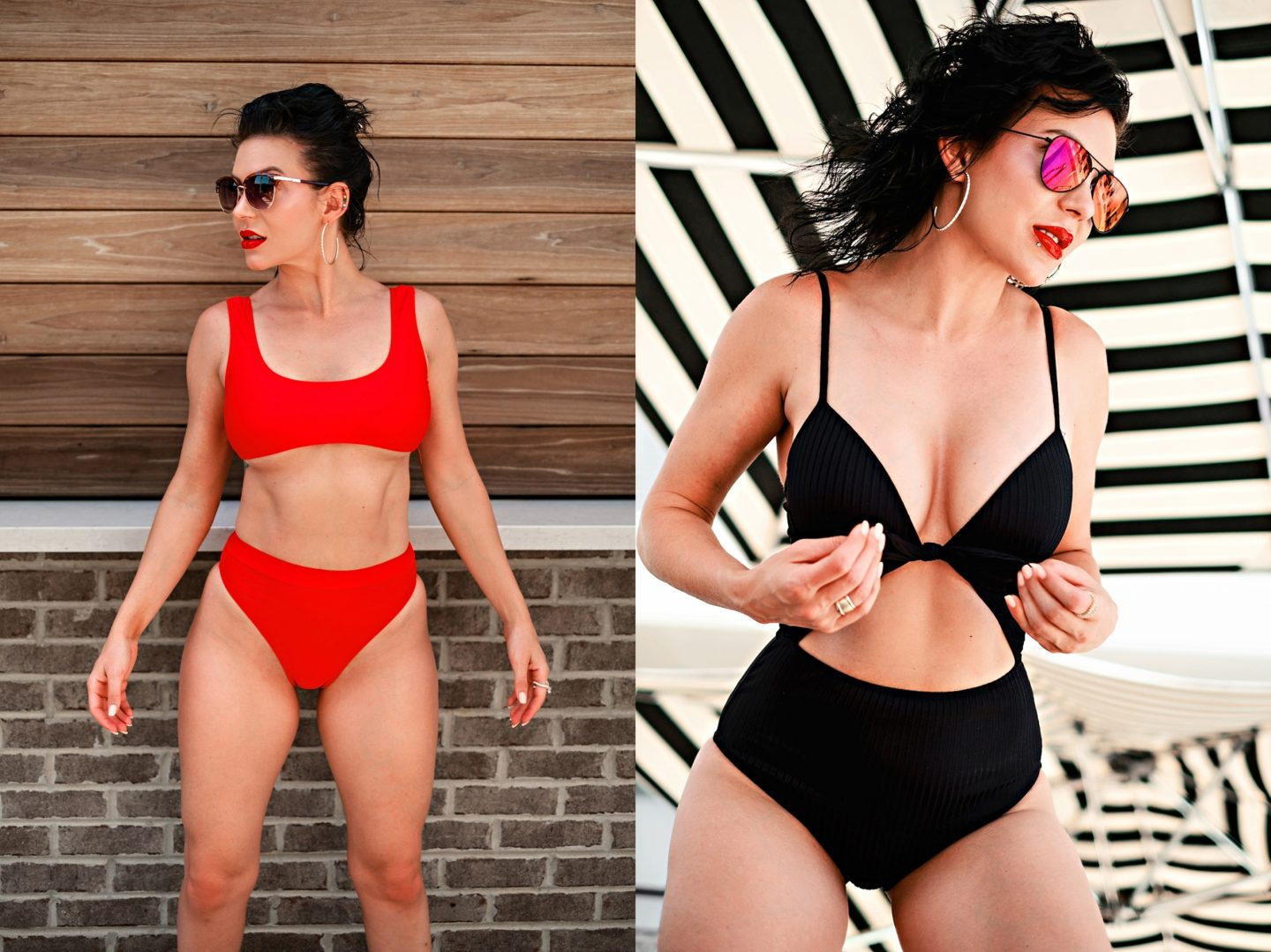 Swimsuit Styles by popular Atlanta fashion blog, Chelissima: image of a woman wearing a ASOS Missguided mix and match scoop neck crop bikini top in red and a Target Women's Shore Light Lift Ribbed Tie-Front Cut Out One Piece Swimsuit.