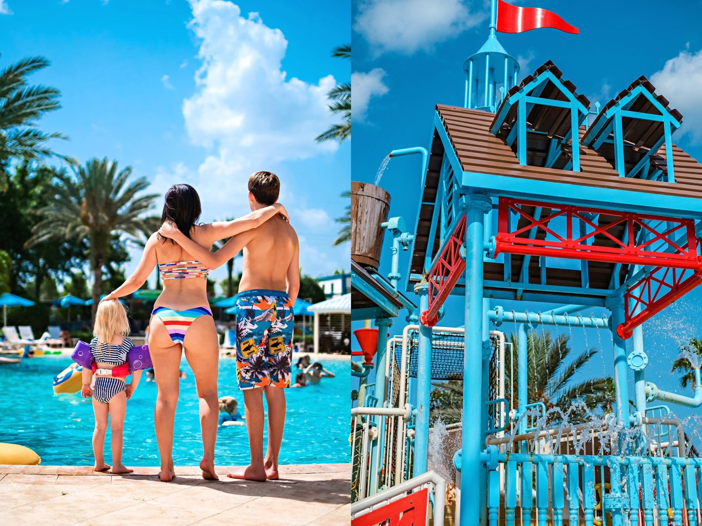 Reunion Resort by popular Atlanta travel blog, Chelissima: image of Chelsea Patricia standing by the Reunion Resort pool with two of her kids.