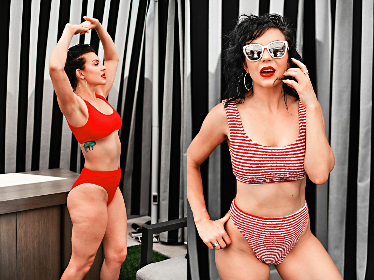 Swimsuit Styles by popular Atlanta fashion blog, Chelissima: image of a woman wearing a red and white strip two piece swimsuit and a ASOS Missguided mix and match scoop neck crop bikini top in red.