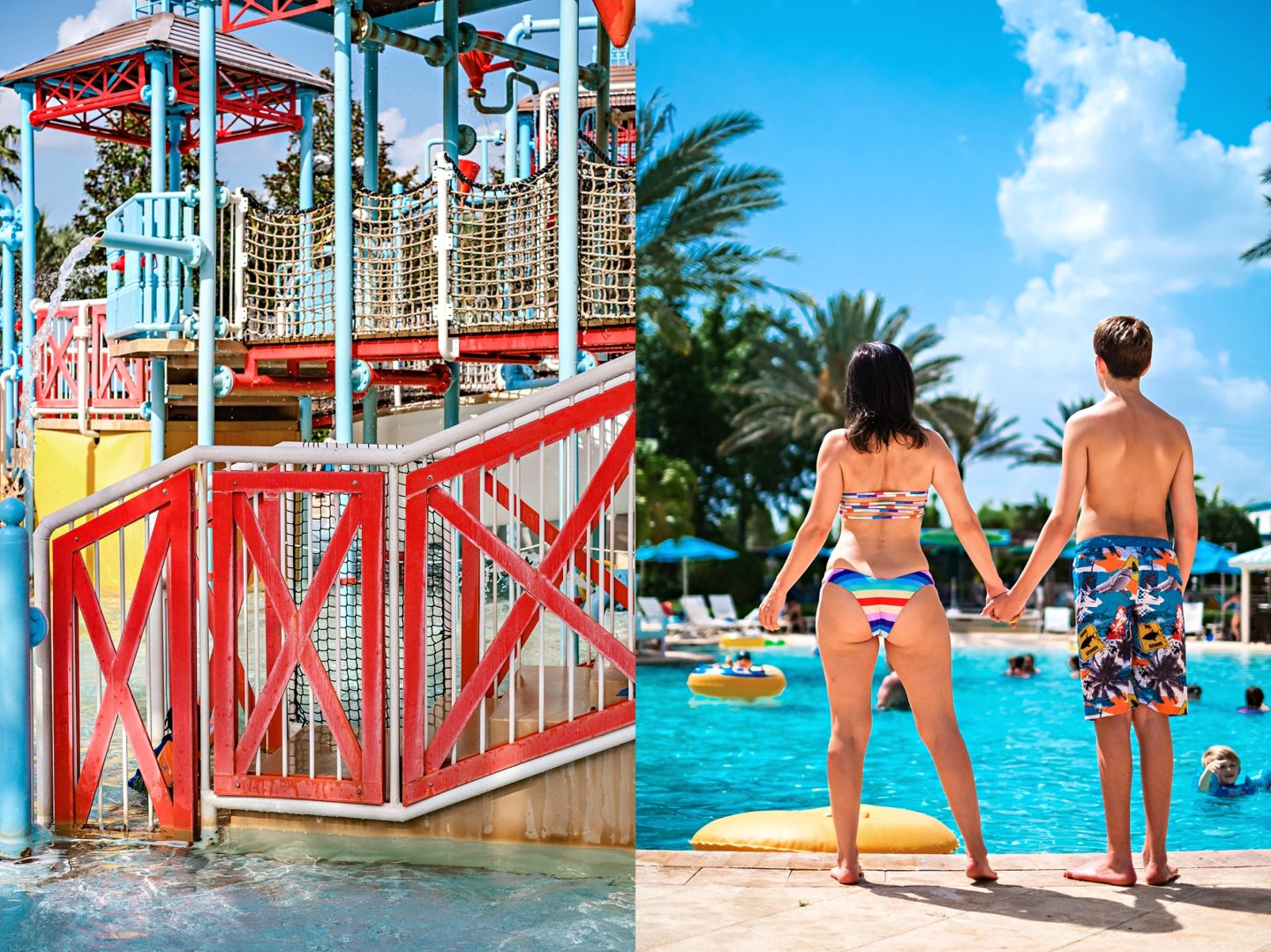 Reunion Resort by popular Atlanta travel blog, Chelissima: image of Chelsea Patricia standing by the Reunion Resort pool with her oldest son.