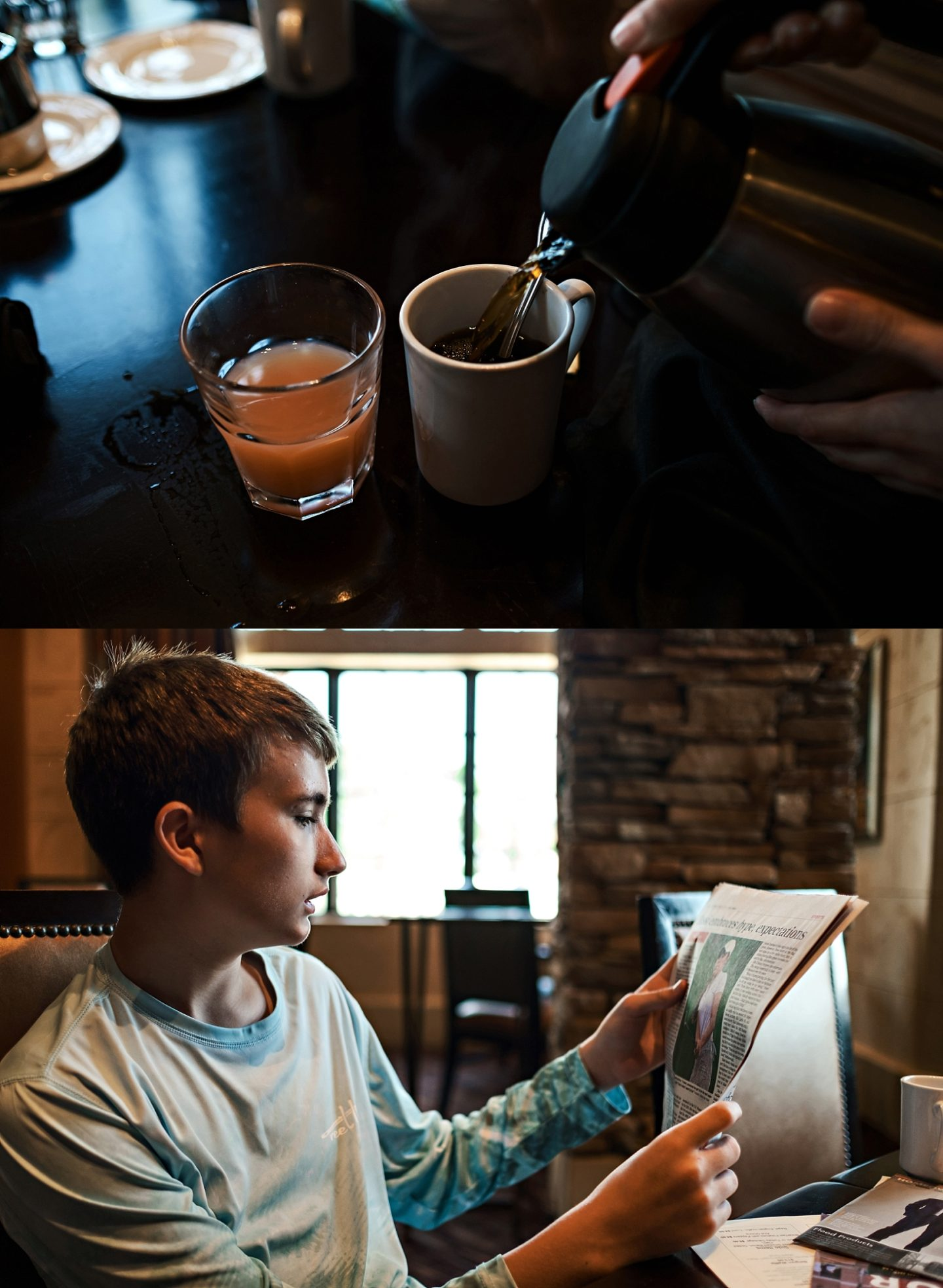 Reunion Resort by popular Atlanta travel blog, Chelissima: image of coffee being poured at Reunion Resort and a boy reading a newspaper.