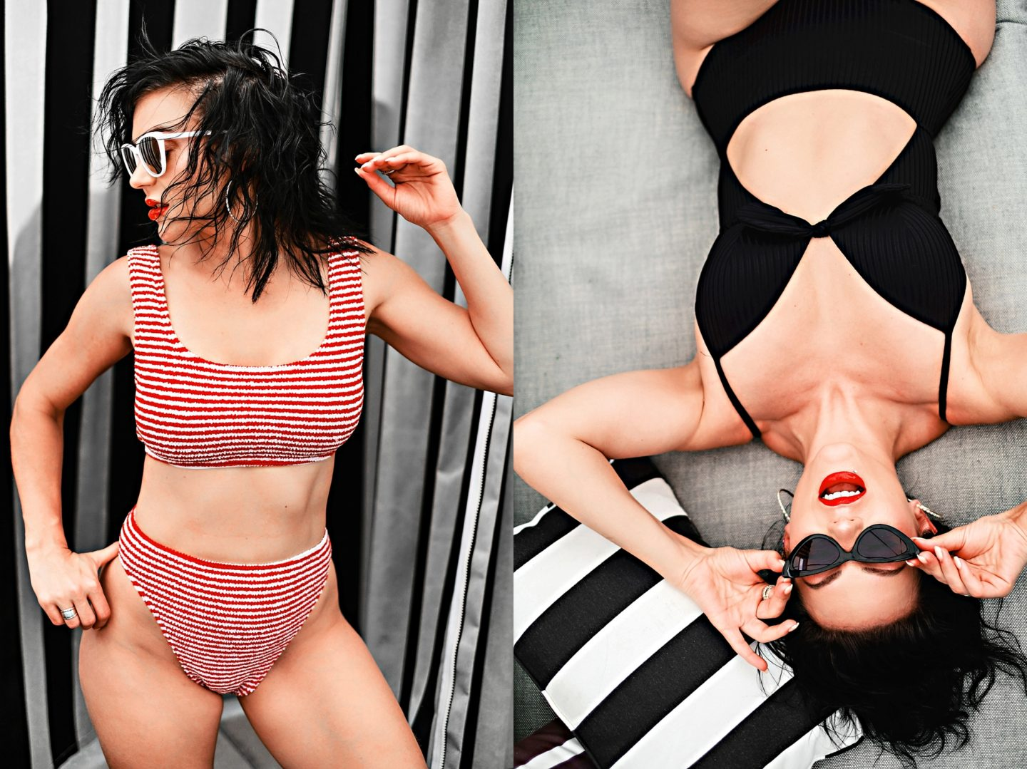 Swimsuit Styles by popular Atlanta fashion blog, Chelissima: image of a woman wearing a Target Women's Shore Light Lift Ribbed Tie-Front Cut Out One Piece Swimsuit and a red and white stripe bikini.