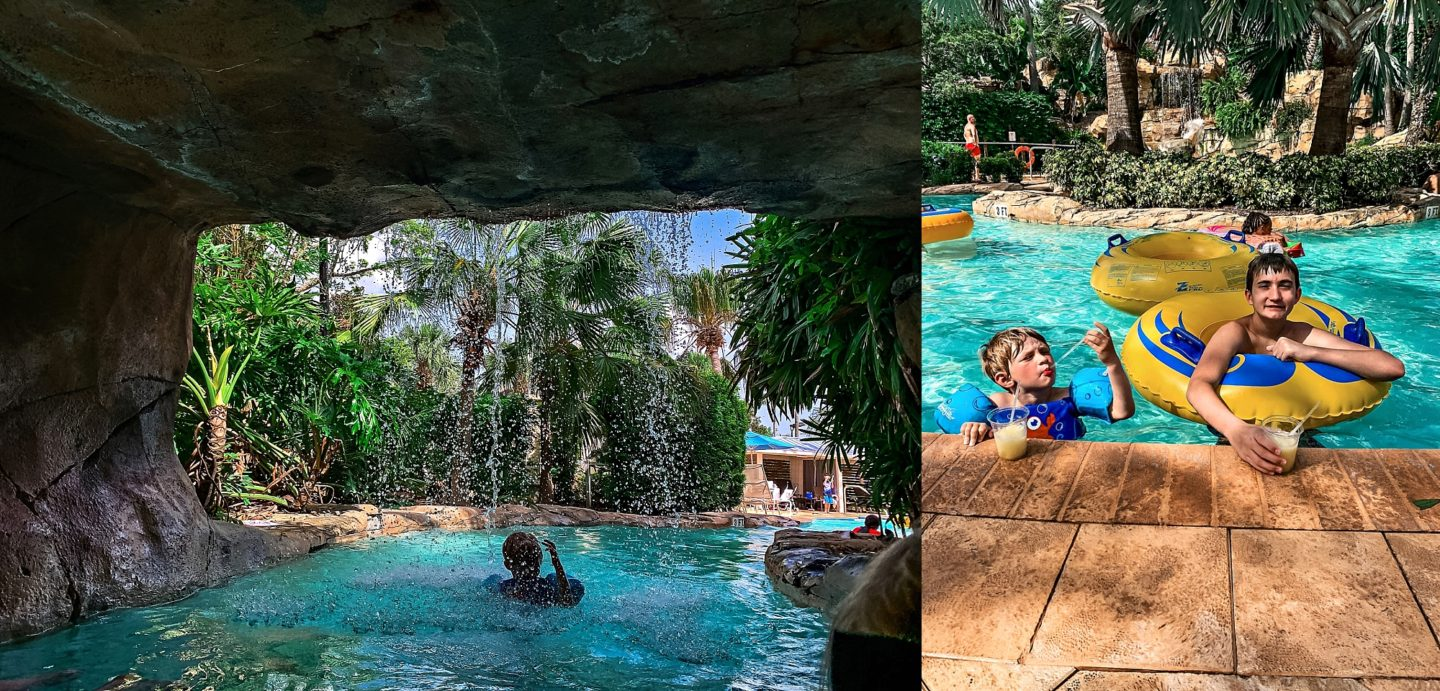 Reunion Resort by popular Atlanta travel blog, Chelissima: image of Chelsea Patricia's kids in the Reunion Resort pool.