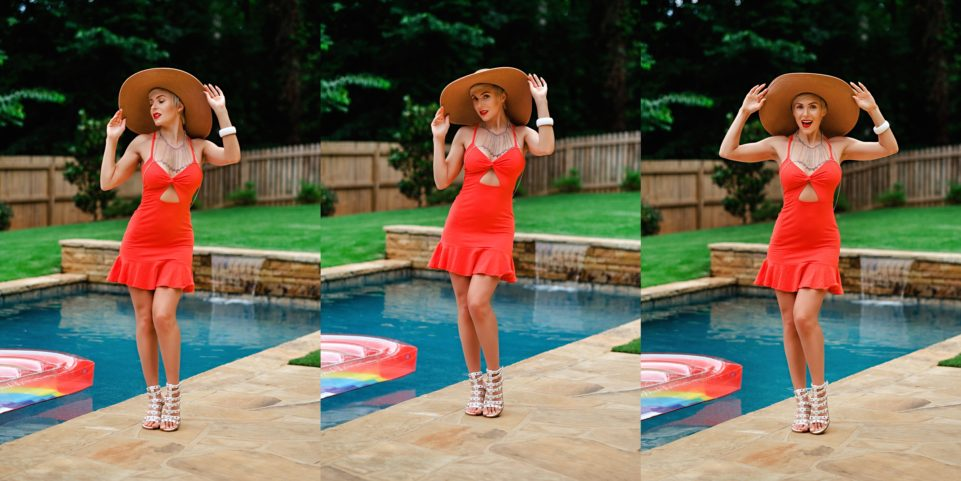 Summer Style: ASOS Red Sundress Poolside by Atlanta fashion blogger Chelissima