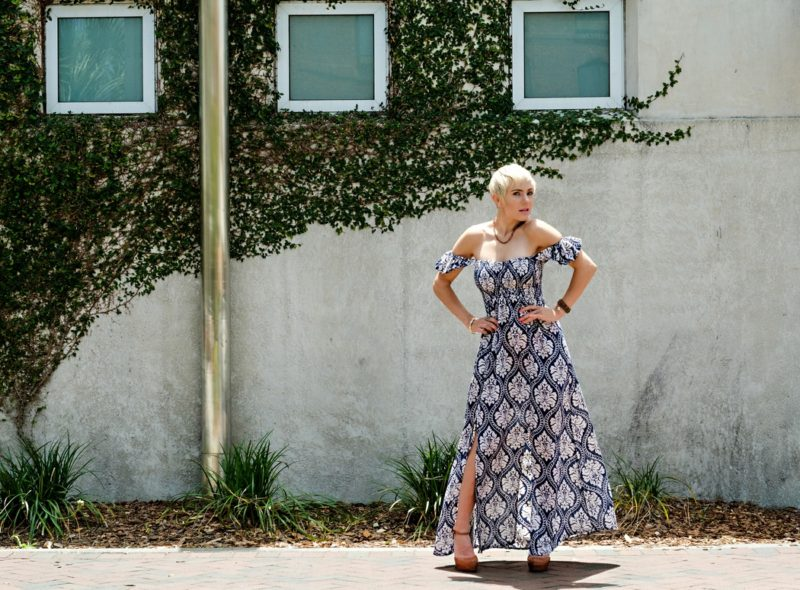 South Moon Under // Off the Shoulder Maxi Dress