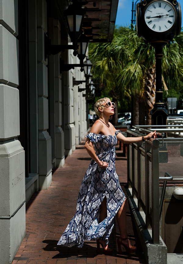 South Moon Under: Off-the Shoulder Maxi Dress by Atlanta fashion blogger Chelissima