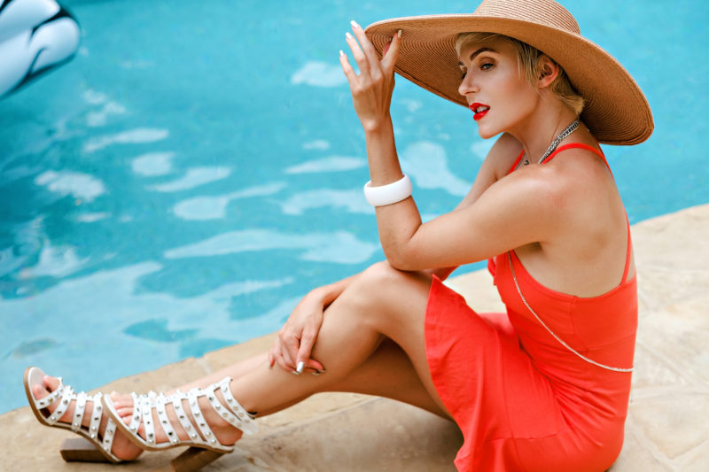 Summer Style: ASOS Red Sundress Poolside